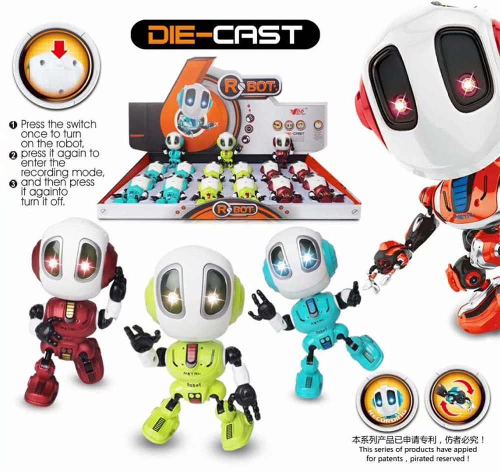 Robot Toy Figuras de Ação multi-função de gravação de voz inteligente de terceira geração da liga bonito móvel conjunta luz presente de aniversário menino