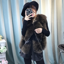 Women Winter Real Fur Vest Female Ladies Genuine Sheep Leather Jacket Fashion Zippers Natural Fox Fur Gilet Real Fox Fur Coat