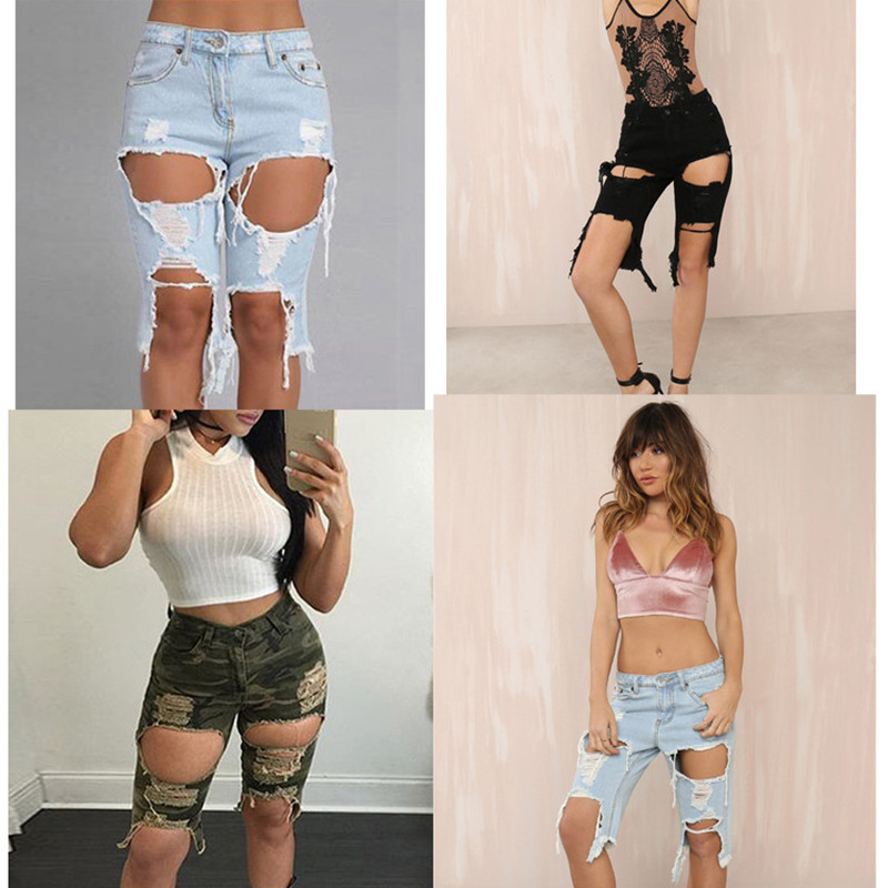High Waist Casual distressed ripped   jeans   Women Sexy Denim Hole Skinny Knee Length Pants Stretch Plus Size Short boyfriend   Jeans