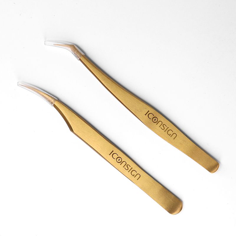 2 peças/set cílios Pinças de Aço Inoxidável de Alta Qualidade Alta Tigthness Ouro Curvo Anti-estático/Dobrado Encrespador make up ferramentas