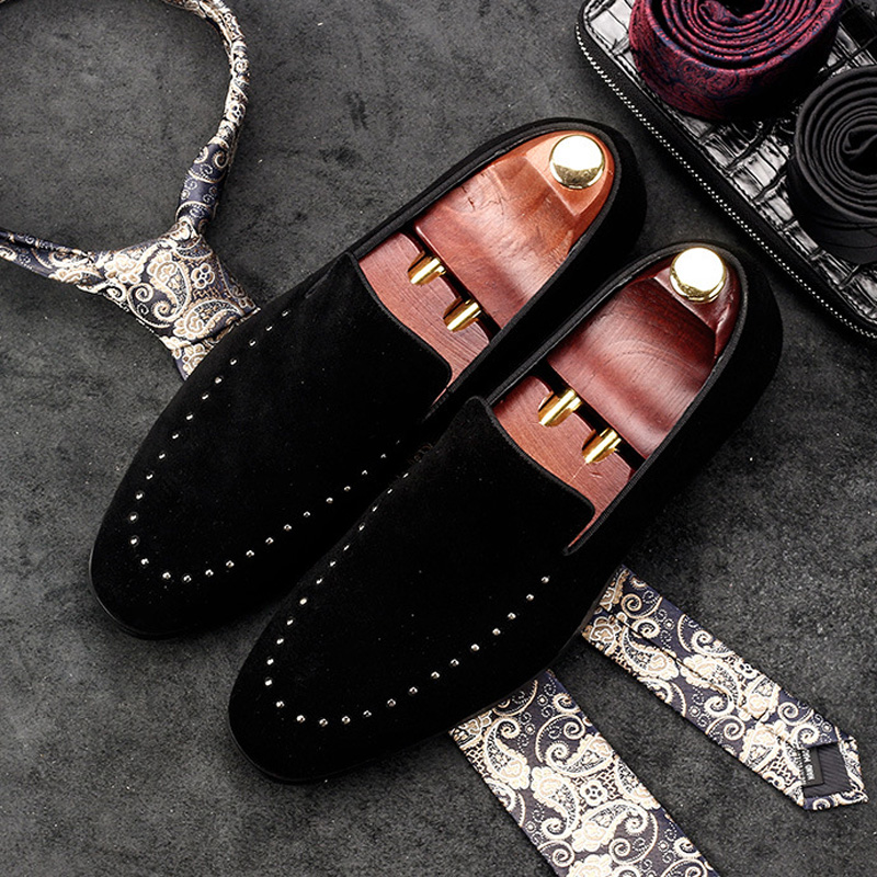 New Arrival Luxury Cow Suede Rivets Man Office Shoes Genuine Leather Wedding Loafers Formal Dress Men's Bridal Flats AC49 new arrival dreambox cow suede shoes gold and black rivets fashionable parties and banquets men s shoes european style smok