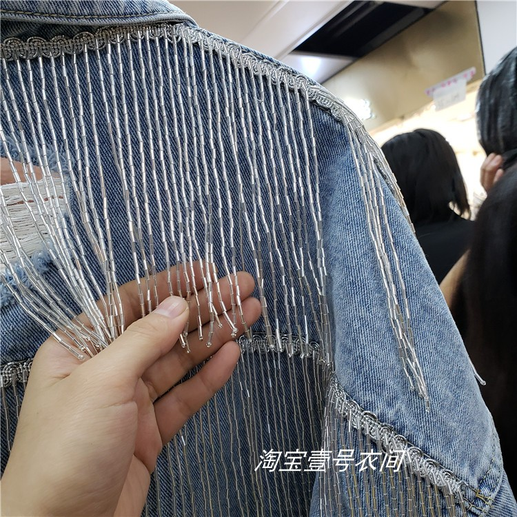 Spring New Jeans Jacket Korean Hand Fringed Personalized Locomotive Denim Jacket Lady High Street Short Jackets Coat Student-in Jackets from Women's Clothing    3