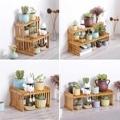 Натуральная бамбуковая растительная полка  Цветочная садовая стойка  Цветочная витрина  полка для хранения  органайзер  домашний стол  балк...