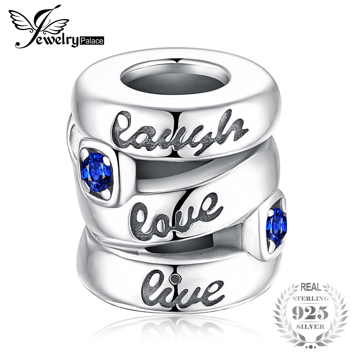 4d44e76b6 JewelryPalace Laugh love Live Blue Created Sapphire 925 Sterling Silver Beads  Charms Fit Bracelet Fashion Women Jewelry DIY Bead