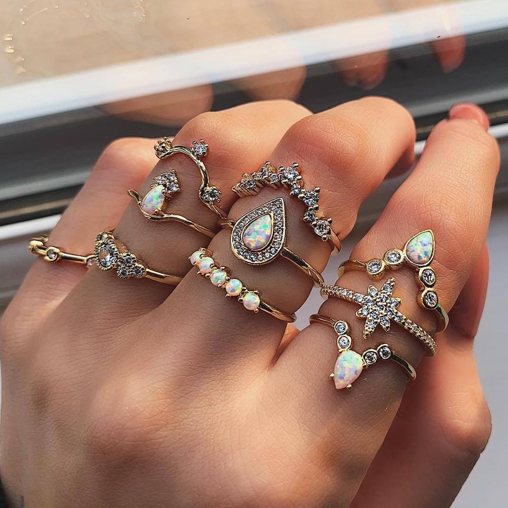8Seasons Women Bohemian Rings Wave Flower eart Leaf Crystal Opal Rings Set Party Club Gold Finger Rings Set Jewelry Accessories
