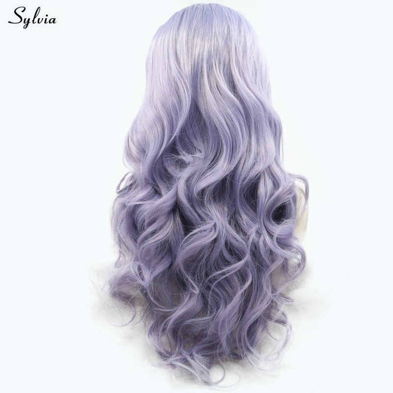 Sylvia Long Lilac Purple Hair Bouncy Curly Synthetic Lace Frontal Wigs Glueless Heat Resistant Fiber Natural Hairline For Women