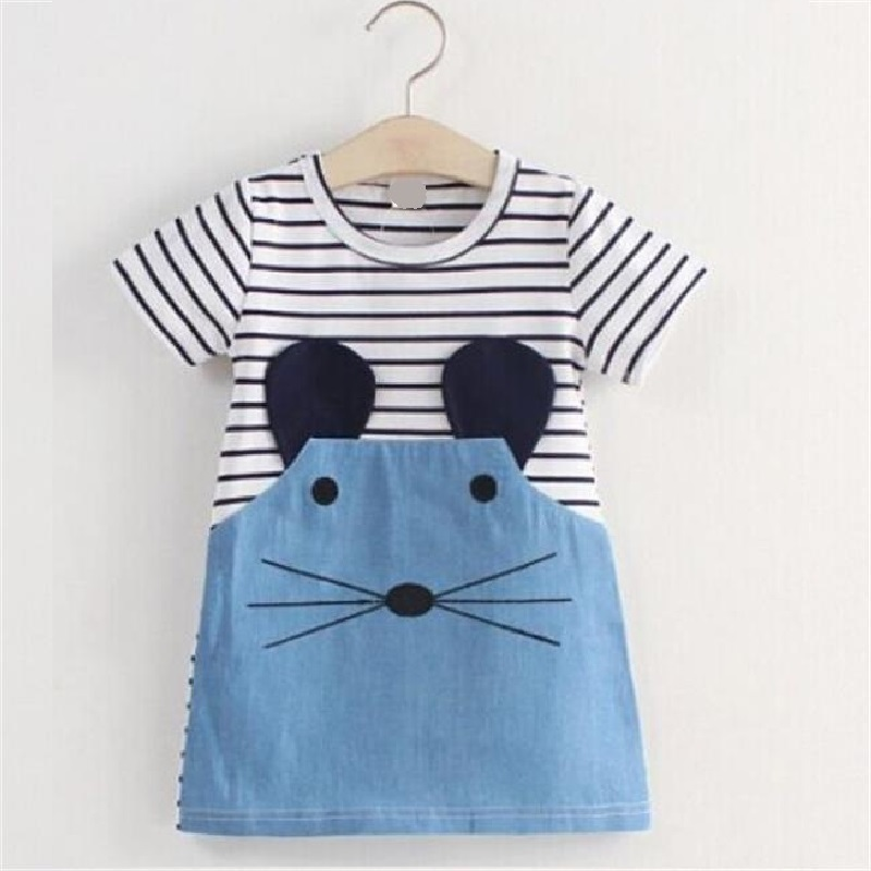 Mouse Girls Clothes Kids Dresses Children Clothing Set Denim Jean Dress Girl One-Piece Dresses Stripe Girls Outerwear 2 3 4 <font><b>5</b></font> 6y image