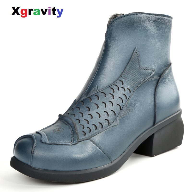 XGRAVITY nouveau 2018 automne hiver bottes courtes confort poisson Designer bottines mode en cuir véritable vache chaussures chaussures rétro S044