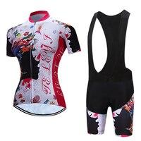 TELEYI Women Cycling Bib And Jersey 2017 Bicycle Clothes Sets MTB Bike Clothing Kit Female Skinsuit