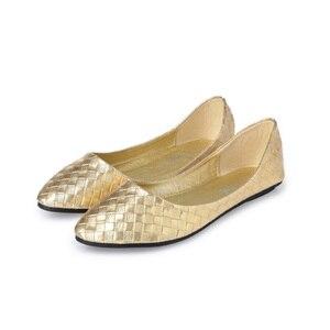 Image 2 - Beyarne Plus Size 35 41 Mode Flats Goud Zilver Flats Voor Vrouwen Platte Hak Schoenen Fashion Flats Gratis verzending