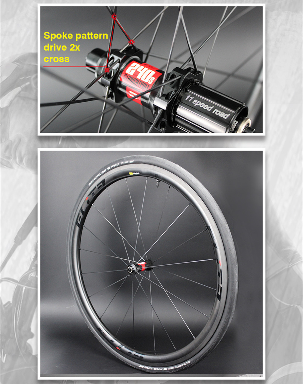Elite KING DT 240S Carbon Bicycle Wheel 30 38 47 50 60 88 Depth Tubular Clincher Tubeless 700c Carbon Fiber Road Bike Wheelset