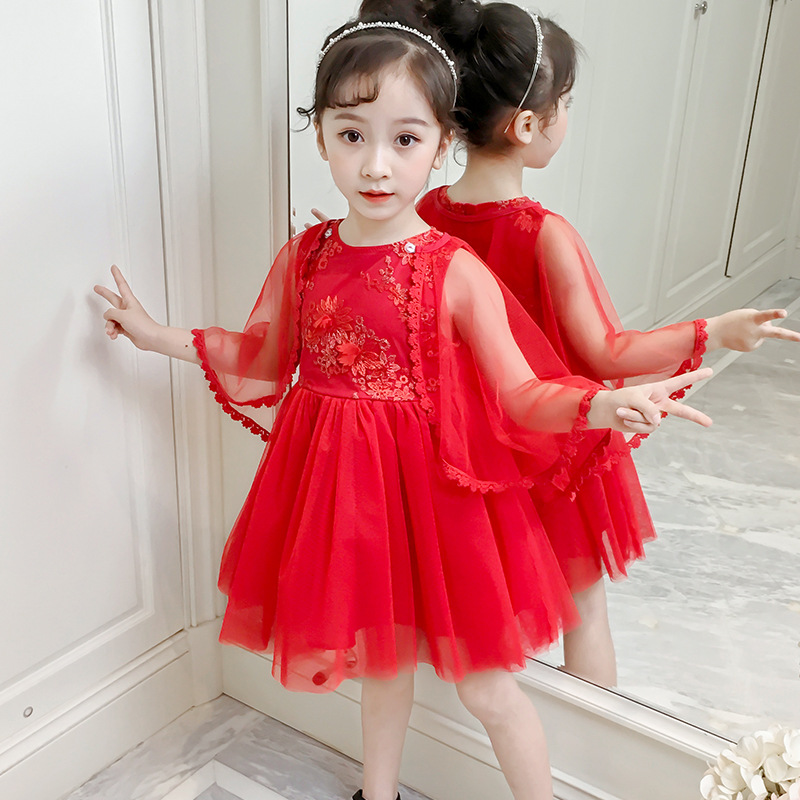 Girls princess dresses 2019 summer Baby new Red white Flower lace Mesh shawl dress cute infant girls wear Clothing 2 <font><b>5</b></font> 8 10Years image