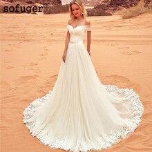 White Fantastic Sweetheart Tulle Off The Shoulder A-line Lace Appliques Boho Wedding Dress Gown Sofuge Vestido De Noiva