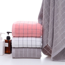 Pink White Grey Plaid Cotton Terry Towels 34*75cm Face Towel or Bath For Adults 70*140cm Bathroom