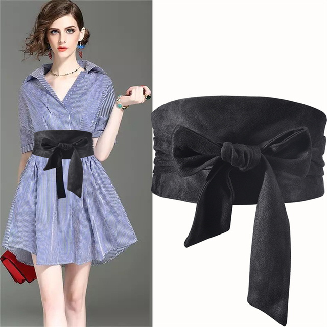 Корейский модный замшевый женский поясной ремень из плюшевой ткани 12,5 см Широкий самозавязывающийся ремень для юбки рубашки платья Женские однотонные ремни для корсета