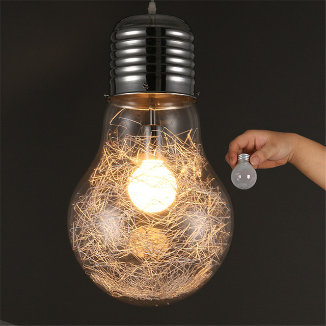 Modern Pendant Light LED Big Bulb Pendant l& Glass L&shade Hanging L& Light Fixture luminaria Vintage & Modern Pendant Light LED Big Bulb Pendant lamp Glass Lampshade ...
