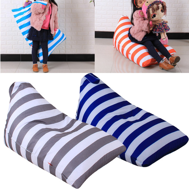 bean bag storage chair cover hire midlands kids stuffed animal plush toy soft pouch stripe fabric cotton