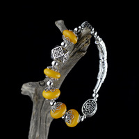 2018 Women Bracelet Kehribar Amber Character Product S925 Pure Ms Thai Ornament Accessories Handmade Diy Beeswax Hand String