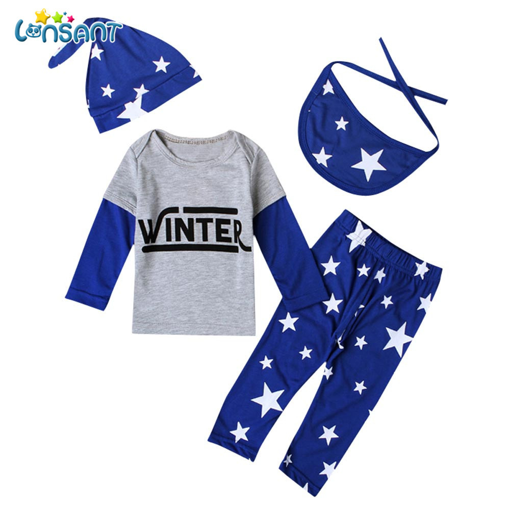 LONSANT Kid Newborn Stars Print Baby Long Sleeve Blue Tops+Pants Hat Bib Clothes Outfits 1Set