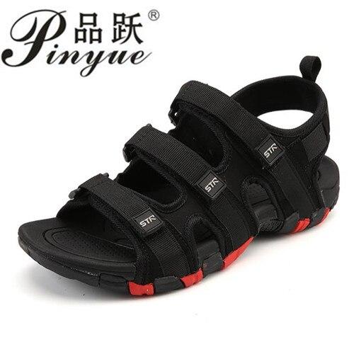 Summer Men Sandals Hook&loop Men's Summer Shoes 2018 Fashion Waterproof Casual Beach Shoes Size:39-44 Black 1