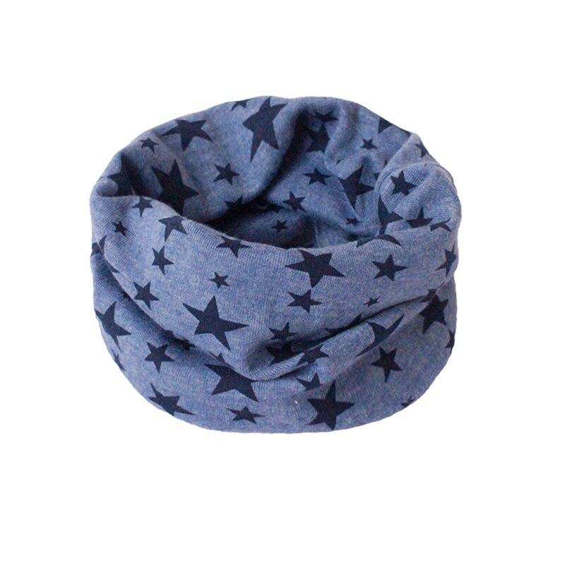 Детский хлопковый шейный шарф с милым принтом; детский теплый шарф; Детские воротники; осенне-зимний шарф-кольцо для мальчиков и девочек; аксессуары для детской одежды - Цвет: blue star