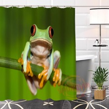 Eco-friendly Custom Unique green frog Fabric Modern Shower Curtain bathroom Waterproof for yourself H0220-32