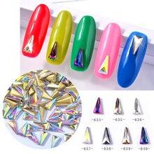 T-TIAO CLUB 10 Pcs/set Crystal AB Triangular Nail Art Decorations Chameleon Aurora 3d Glass DIY Manicure Jewelry
