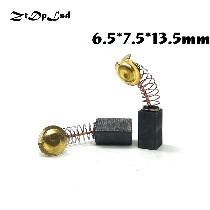 ZtDpLsd 2 Pcs/Pairs 6.5x7.5x13.5mm Mini Drill Electric Grinder Replacement Carbon Brushes Spare Parts For Electric Rotary Tool