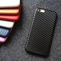 Fibra de carbono caso capa de couro para apple iphone 6 plus 5.5 ultra-fino pu de volta caso para iphone 6 s plus caso do telefone móvel