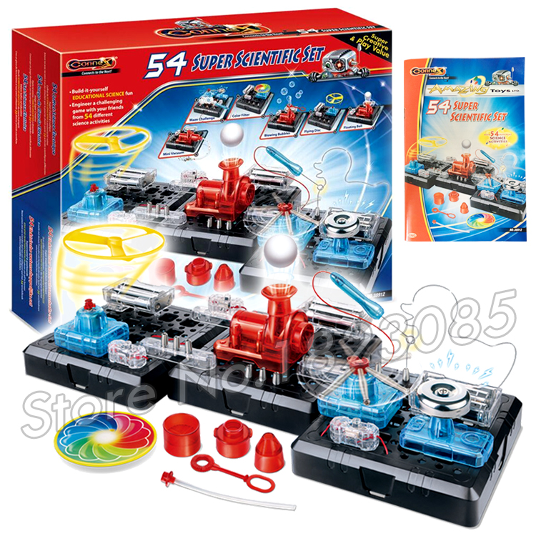ФОТО 54 Super Scientific Set Brain Physics Science Kits Experiment Electronics Discovery Kit Toys Building 3D DIY ABS Educational Toy
