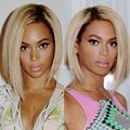 Beyonce short bob synthetic lace front wig with baby hair heat resistant ombre 613#blonde synthetic fiber hair wigs for women