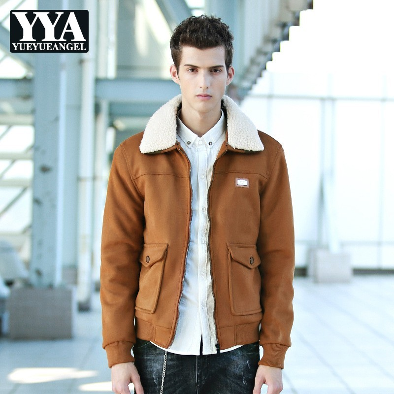 2019 New Winter Mens Fleece Coats Fashion Solid Detachable Collar Faux Suede Outerwear Male Slim Fit Pocket Zipper Coat M 3XL