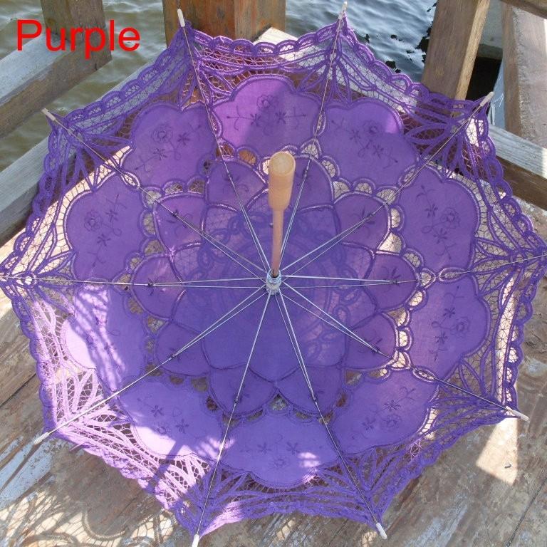 New Lace Umbrella Cotton Embroidery White/Ivory Battenburg Lace Parasol Umbrella Wedding Umbrella Decorations Free Shipping 30