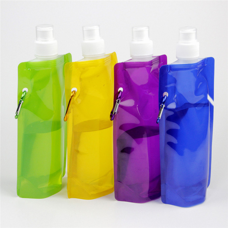 Ultralight portable foldable pe water bags 480ml outdoor sports  bottle pounch hiking camping cooking supplies soft flasks bags