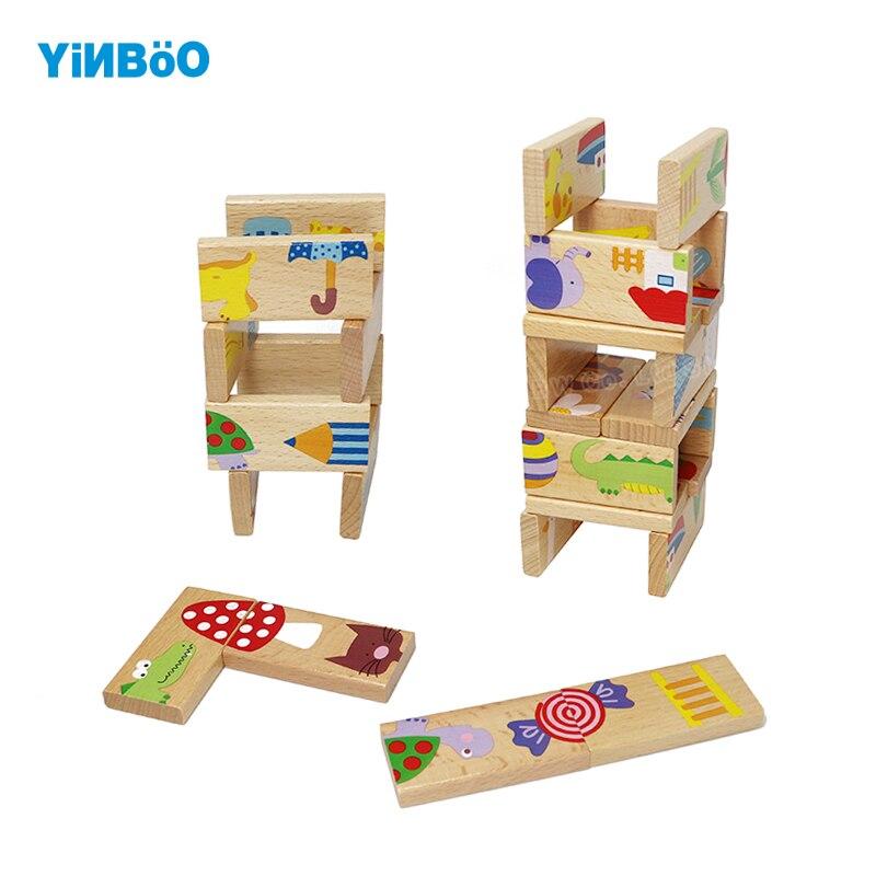 Детские игрушки ребенок животных Domino 28 шт. строительные блоки деревянные игрушки бука Для domino Развивающие игрушки для детей подарок на день...