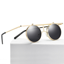 Brand Designer Round Polarized Steampunk Sunglasses Women Mirror Shades For Men Retro Eyewear Unisex
