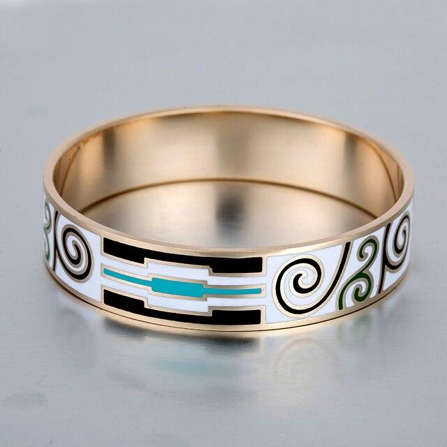 White Enamel Bracelet Stainless Steel Bangles Famous Brand Rose Gold Plated Love Bracelets For Women Men Jewelry 16mm Width