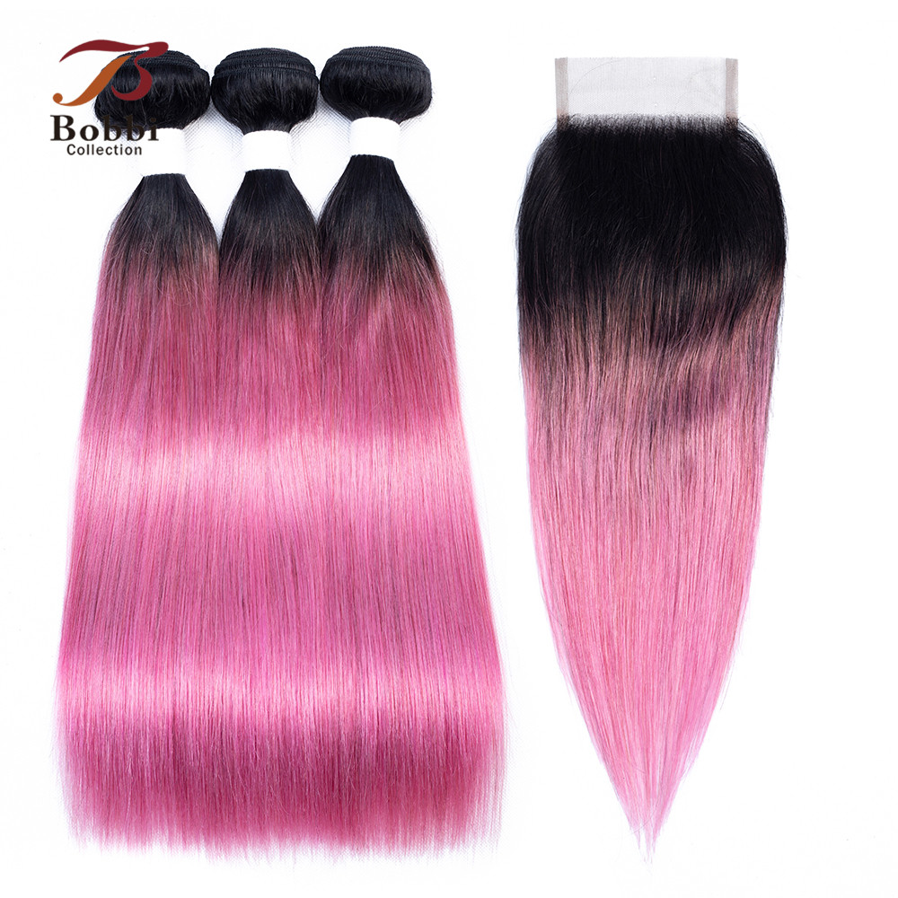 BOBBI COLLECTION 2 3 Bundles With Closure Ombre Pink Rose Red Peruvian Straight Hair Pre Colored