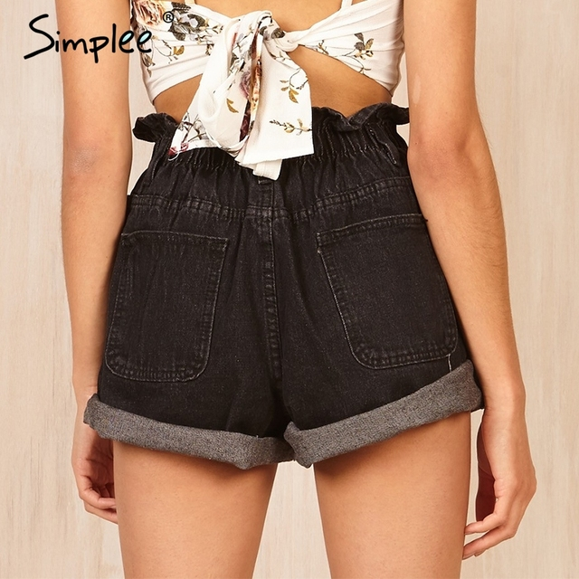 Simplee High waist black hemming denim shorts Women button white summer beach 2017 casual shorts Pocket blue jeans shorts female