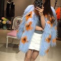 Newest women fur coat , genuine raccoon fur knitted medium-long jacket for ladies , brand design fall winter female coats