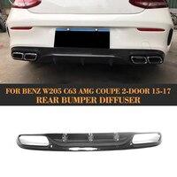 Carbon Fiber C Class Rear Bumper Lip Spoiler Diffuser for Mercedes Benz W205 C205 C63 AMG Coupe 2 Door Only 15 17 Convertible