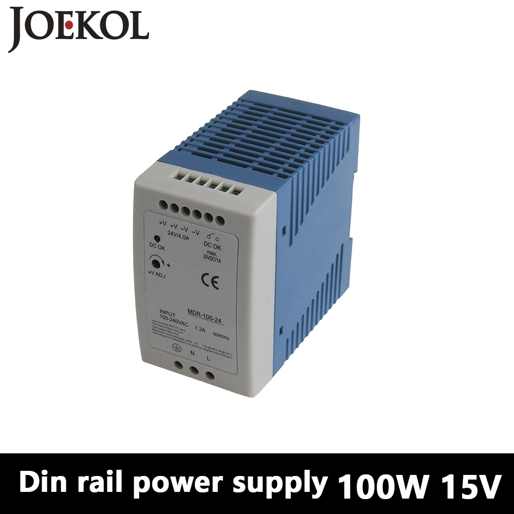 MDR-100 Din Rail Power Supply 100W 15V 6.6A,Switching Power Supply AC 110v/220v Transformer To DC 15v,ac dc converter dr 240 din rail power supply 240w 24v 10a switching power supply ac 110v 220v transformer to dc 24v ac dc converter