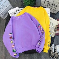 Sweet Purple Yellow Sweatshirt Cute Cake Milk Food Printed Pullovers Autumn Winter Warm Thick Fleece Hoodie Women Preppy Outwear 3