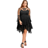 CharMma 2017 Fashion Plus Size Sexy Sheer Ruffles Tiered Lace Gothic Dress Female Black Hollow Out