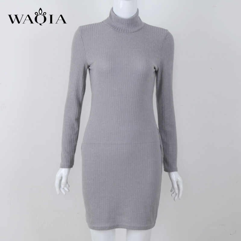 5820d20be0aac ... Women Sweaters Dress 2018 Knitting Dress Autumn Winter Long Sleeve Warm  Bodycon Turtleneck Midi Dress Knitted ...