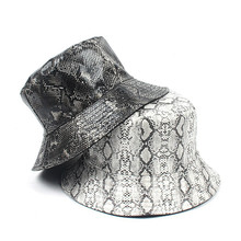 bb4ac0603db Summer Casual Bucket Caps Unisex Adult Double Sided Wear Snake Grain  Fisherman Hat Sunscreen Outdoors Cap