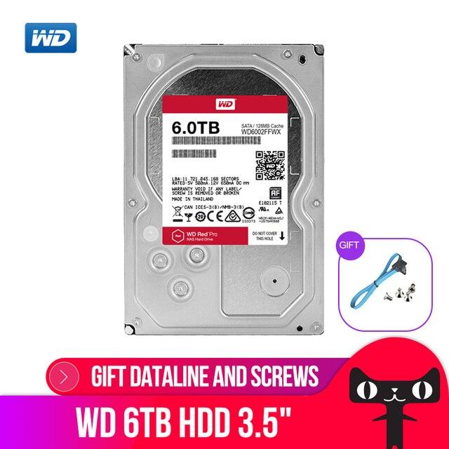 Wd 레드 프로 6 테라바이트 디스크 네트워크 스토리지 3.5 nas 하드 디스크 레드 디스크 6 테라바이트 7200 rpm 256 m 캐시 sata3 hdd 기가바이트/초 wd6003ffbx