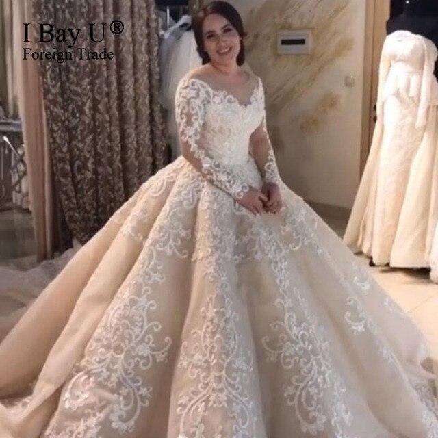Mewah Renda Pernikahan Gaun 2019 Tipis Lengan Panjang Gaun Bola Gaun