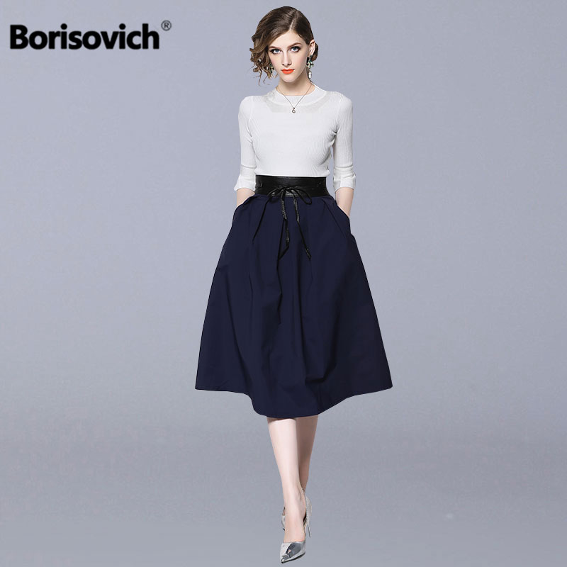 Borisovich 2 Piece Set Women Suit New Brand 2018 Autumn Fashion Office Lady Flare Sleeve Knitted Sweater And Female Skirts N111