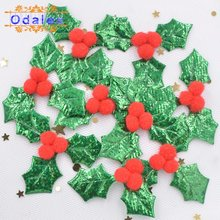 60Pcs 3D Christmas Appliques Supplies Holly Leaf Patches Hair Accessories Trembling Kid Clip Girls Headdress Party Decor